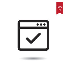 web browser approve icon vector image