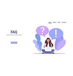 Woman with question exclamation marks in chat vector