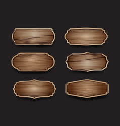 wooden sign boards label collection design vector image