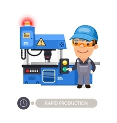 Worker and Milling Machine vector