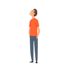 Young man in casual clothes looking up vector