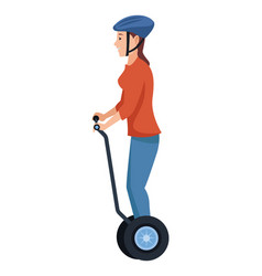 Young woman on electric scooter vector
