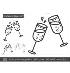 Champagne glasses line icon vector image