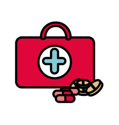 colorful suitcase health with treatment icon vector image