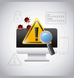computer screen warning virus search technology vector image