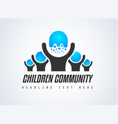 creative children community logo design for brand vector image