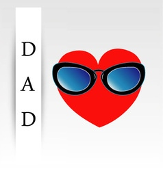 Fathers day card with red heart wearing goggles vector