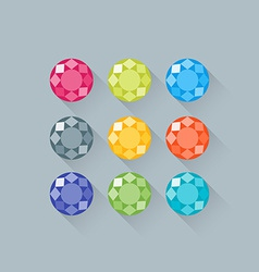 Flat gems icons set with long shadows vector image vector image
