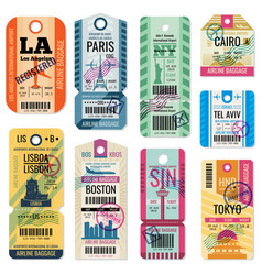 Retro travel luggage labels and baggage tickets vector