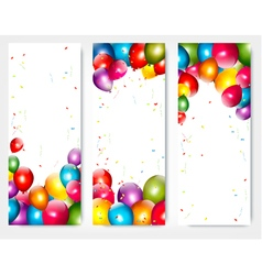 Three holiday birthday banners with balloons vector image vector image