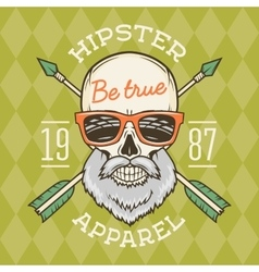 Vintage True bearded Hipster skull with vector image vector image