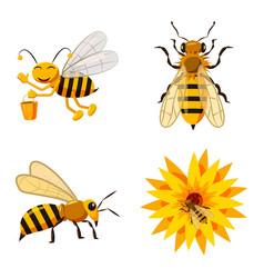 bee icon set cartoon style vector image