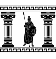 black warrior with with columns first variant vector image vector image