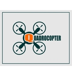 Drone quadrocopter icon Quadrocopter text vector image vector image
