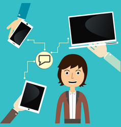 men communicate with devices vector image