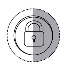 monochrome contour with circle sticker of padlock vector image
