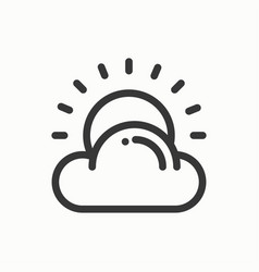 sun cloud line simple icon weather symbols vector image vector image