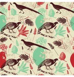 Vintage Birds Wilderness Pattern vector image