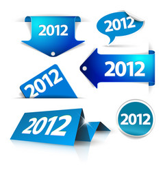 2012 labels stickers pointers tags vector image vector image