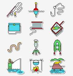 fishing hobby icons set in line art thin and vector image vector image