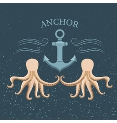 Vintage label anchor and octopus vector image