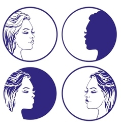 Beautiful girl sketch collection logo vector