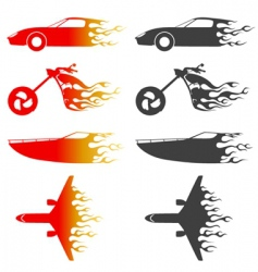 flame vehicles vector image vector image