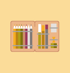 flat icon on stylish background pencil box pencil vector image vector image