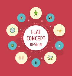 flat icons prayer carpet minaret decorative and vector image