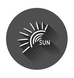 hand drawn sun icon with long shadow vector image