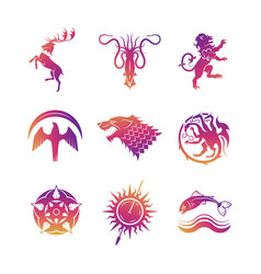 heraldic icons with animals vector image