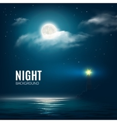 Night nature cloudy sky with stars moon and sea vector image vector image