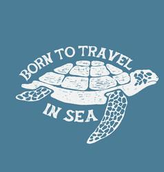 sea turtle vintage label vector image vector image