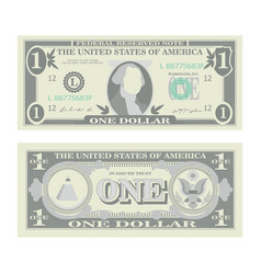 1 dollar banknote cartoon us currency two vector