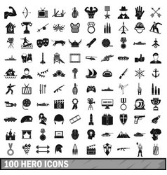 100 hero icons set simple style vector