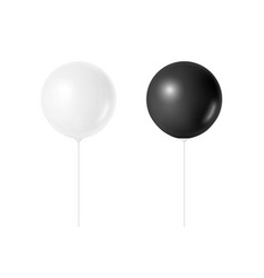 3d realistic white and black balloon set vector