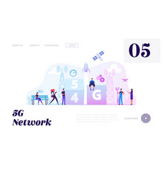 5g and 4g network wireless technology website vector