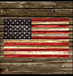 Accurate usa flag on old rustic timber wall vector