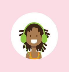 african girl face headphones portrait on pink vector image