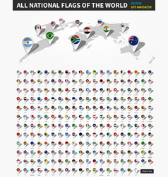All official national flags world gps vector