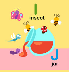 alphabet letter i-insect j-jar vector image