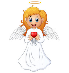 angel hair blonde girl present a red heart vector image