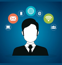 avatar man with social network icons vector image