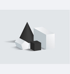 black cone and cube cuboid and pentagrammic prism vector image