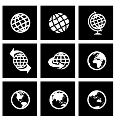 Black globe icon set vector