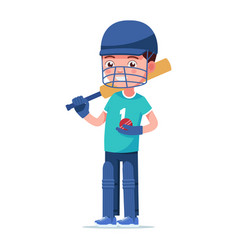 boy cricket player stands with a bat and a ball vector image