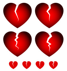 Broken hearts dislike sadness shattered hearts vector