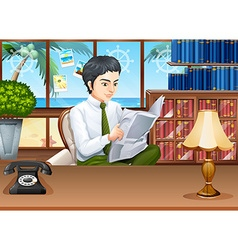 Businessman reading newspapers in the office vector