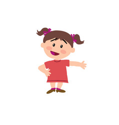Cartoon character girl showing vector
