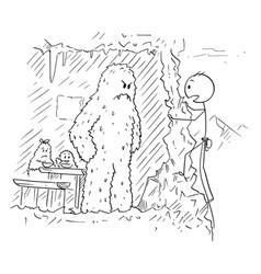 cartoon drawing mountaineer or mountain vector image